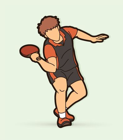 Table player tennis action cartoon graphic vector Illustration