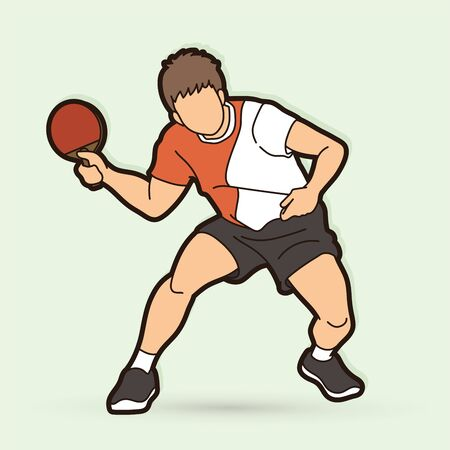 Table player tennis action cartoon graphic vector