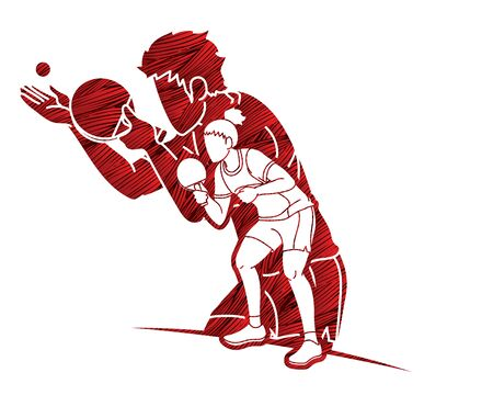 Table Tennis players action cartoon sport graphic vector. Vectores