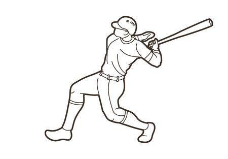 Baseball player action cartoon sport graphic vector. Ilustração