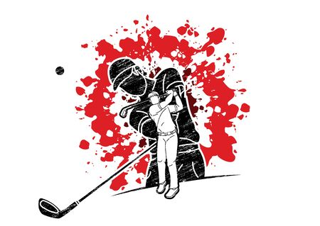 Golf players Golfer action cartoon sport graphic vector.