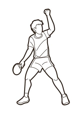 player, Table tennis action cartoon graphic vector