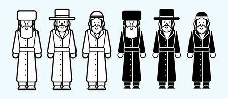 Jewish costume outline icon cartoon graphic vector