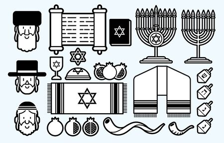Jewish icon set cartoon graphic vector Illustration