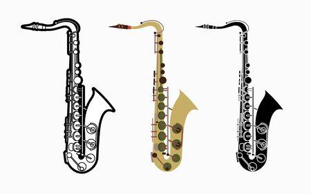 Saxophone instrument cartoon music graphic vector