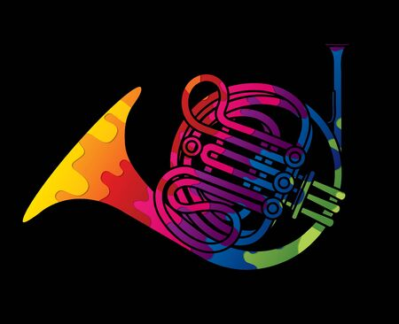 French Horn instrument cartoon music graphic vector