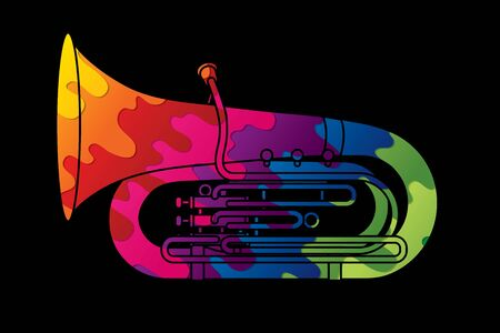Tuba instrument cartoon music graphic vector Ilustrace