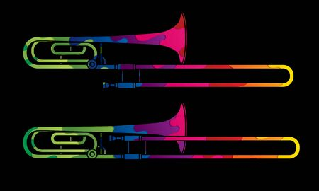 Trombone instrument cartoon music graphic vector