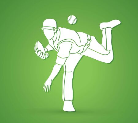 Baseball player action cartoon sport graphic vector.