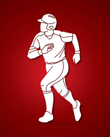 Baseball player action cartoon sport graphic vector. Ilustración de vector