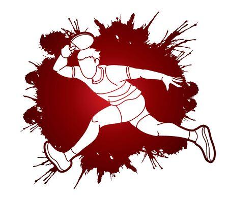 Table tennis player, action cartoon graphic vector Vectores