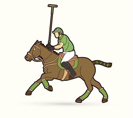 Horses Polo player action sport cartoon graphic vector.