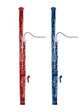 Bassoon instrument cartoon music graphic vector