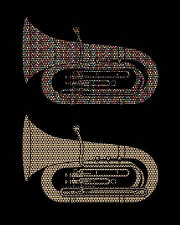 Tuba instrument cartoon music graphic vector Çizim