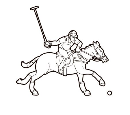 Horses Polo player sport cartoon graphic vector