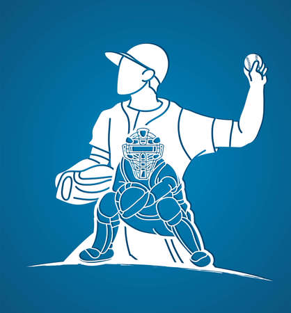 Group of Baseball players action cartoon graphic vector.