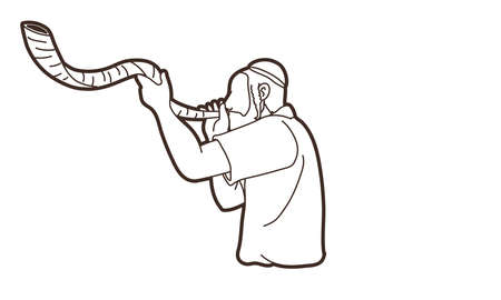 Jewish blowing the Shofar horn cartoon graphic vector.