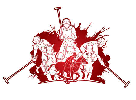 Polo Horses players sport cartoon graphic vector