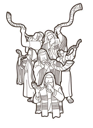 Group of Jewish blowing the shofar horn cartoon graphic vector.