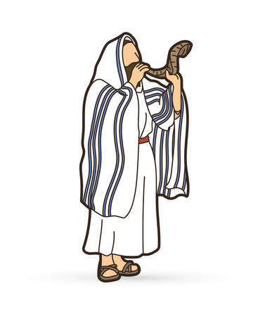 Feast of trumpets Jewish blowing the shofar horn cartoon graphic vector