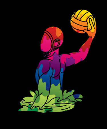 Water Polo player cartoon graphic vector