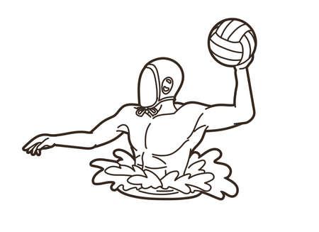 Water Polo player cartoon graphic vector