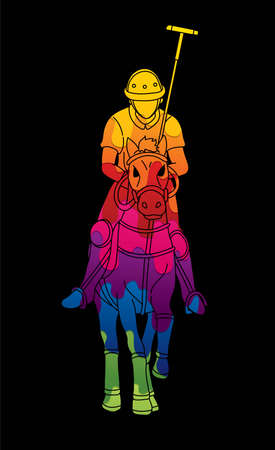 Polo Horse players action sport cartoon graphic vector.