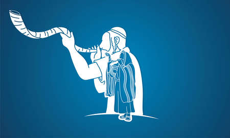 Feast of trumpets. Jewish people blowing the shofar horn cartoon graphic vector