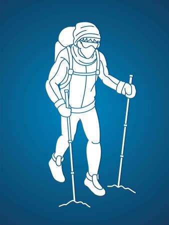 Hiker climbing mountain hiking cartoon graphic vector