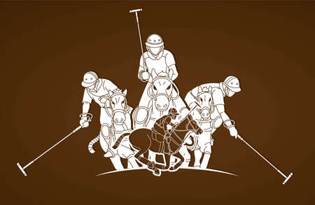 Horses Polo players action cartoon cartoon graphic vector
