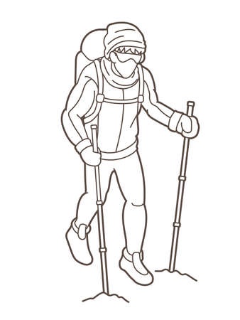 A man hiking on the mountain cartoon graphic vector