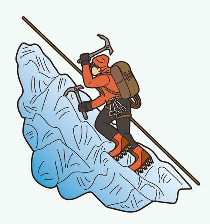 Hiker climbing mountain hiking cartoon graphic vector 向量圖像