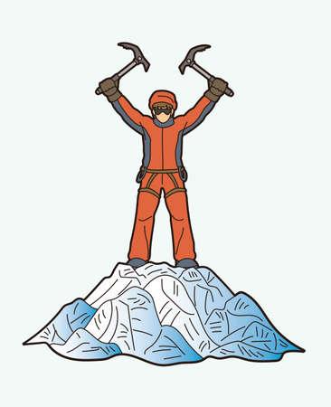 Hiker climbing mountain hiking cartoon graphic vector Ilustracja