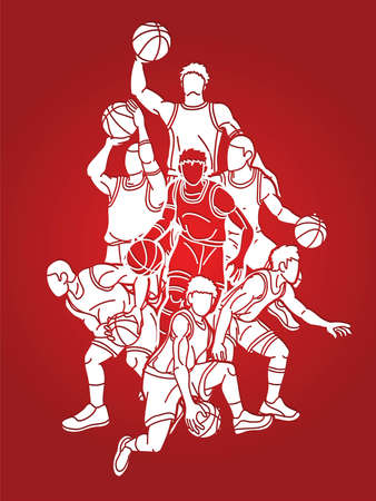 Group of Basketball players action cartoon sport graphic vector.
