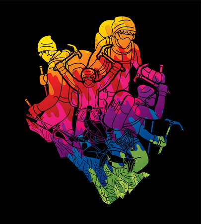 Group of people Hiker climbing mountain hiking cartoon graphic vector Illustration