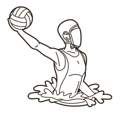 Water polo players  action cartoon graphic vector