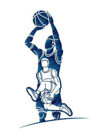 Basketball player action sport graphic vector