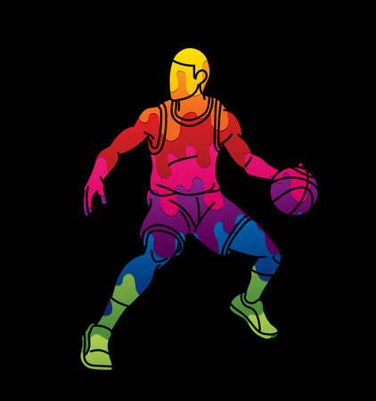 Basketball player action cartoon sport graphic vector.