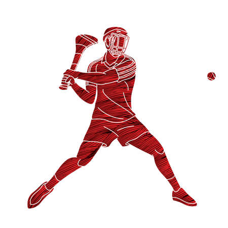 Hurling sport player action. Irish Hurley sport cartoon graphic vector.