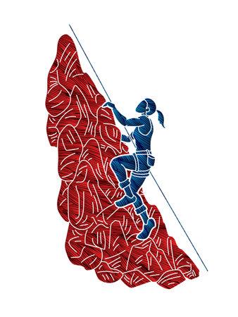 Hiker climbing mountain hiking cartoon graphic vector Иллюстрация