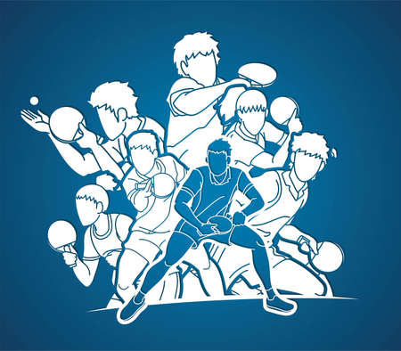 Group of players, Table Tennis players action cartoon sport graphic vector.