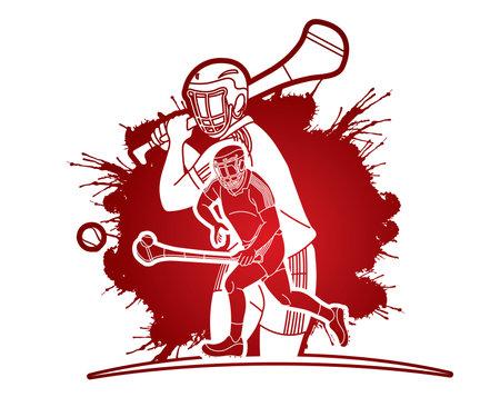 Group of Hurling sport players action. Irish Hurley sport cartoon graphic vector. Иллюстрация