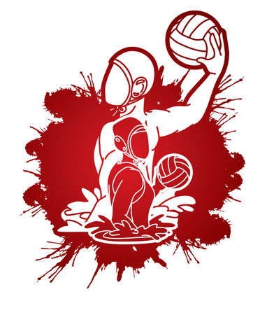 Group of water polo players  action cartoon graphic vector