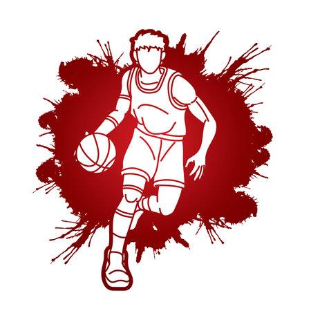 Basketball player action cartoon graphic vector Иллюстрация