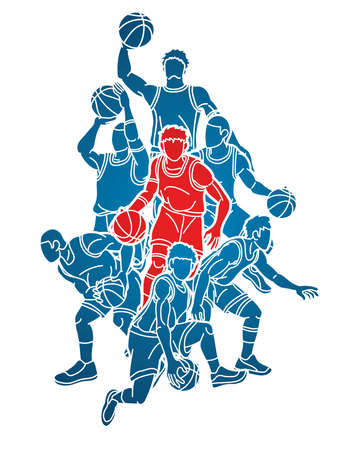 Basketball Team player dunking dripping ball action graphic vector Иллюстрация