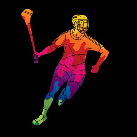 Irish Hurley sport. Hurling sport player action cartoon graphic vector.