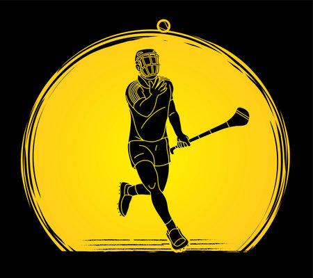 Irish Hurley sport. Hurling sport player action cartoon graphic vector. Stock fotó - 160677594