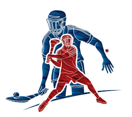 Group of Hurling sport players action. Irish Hurley sport cartoon graphic vector. Illusztráció