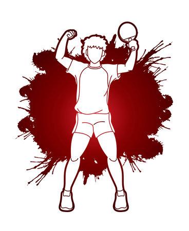 Table tennis action cartoon graphic vector
