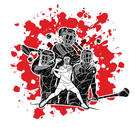 Group of Hurling sport players action. Irish Hurley sport cartoon graphic vector. Stock fotó - 161191166